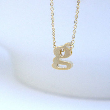 Tiny Initial Necklace - Gold Initial Necklace- Letter Necklace -Minimalist Layering Necklace - Lowerscase Letter - Personalized Letter Charm