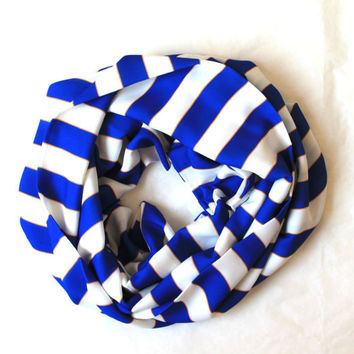 blue striped scarf,infinity scarf, scarf, scarves, long scarf, loop scarf, gift