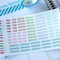 College School Stickers - 82 Planner Stickers - 1 Sheet | Stickers for your daily planner, calendar, agenda
