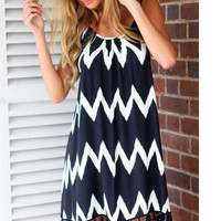 Casual Zig Zag Design Spaghetti Strap Mini Dress With Tassel