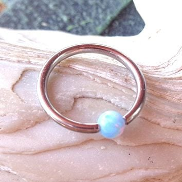 BCR,Captive Light Blue Fire Opal Bead Septum,Upper Ear Daith Rook,Tragus,Cartilage,Helix,Hoop Earring,Nose Ring,Eyebrow Piercing-Body Jewelry