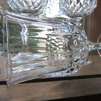 Crystal Wine Glasses Cristal D'Arques Longchamp Pattern Lead Crystal Stemware Set of 4 Vintage