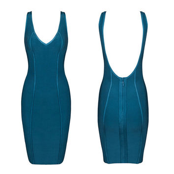 Women's Fashion Sexy V-neck Backless Bandages Dress [4919879172]