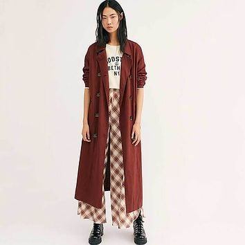 Brick Red Double Breasted Duster Coat