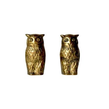 Pre-owned Iconic Vintage Solid Brass Owl Figurines - A Pair