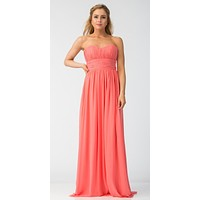 Coral Bridesmaid Dress A Line Long Chiffon Sweetheart