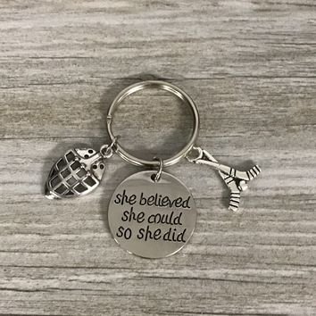 Hockey Goalie She Believed She Could So She Did Keychain