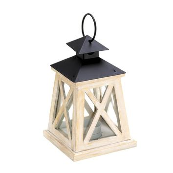 Iron Colonial Height Wooden Candle Holder Lantern