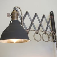 Industrial Scissor Articulating Wall Lamp Light - Antiqued Patina - Steampunk Lamp - Mirrored Dark Gray Shop Light & Shade