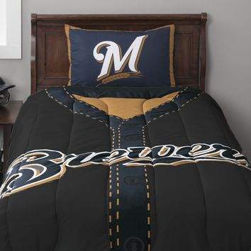 MLB Milwaukee Brewers Twin Comforter Set Baseball Jersey Bed
