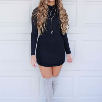 Poetic Beauty Black Long Sleeve Bodycon Dress