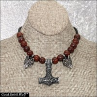 Viking Design Mjolnir Hammer with Tribal Wolves On Leather Cord Necklace with Gemstone Accent Beads