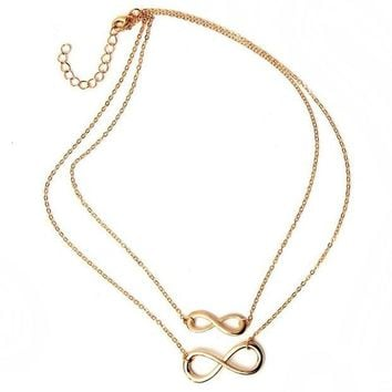 VONG2W hot sale ! 2016 fashion women necklace Gold silver eight bar choker Necklace Simple Eight Infinity Symbol Necklace For Women