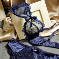 2015 Sexy Bra Set Women Underwear Set Conjuntos Lace Bras Transparent Sapphire Blue Sexy Lingerie Embroidery Bra and Panties