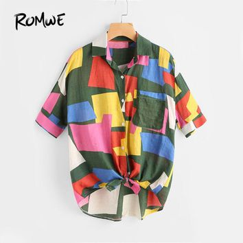 ROMWE Patchwork Knotted Hem Shirt Multi Color Patchwork Lapel Top And Blouse Women Half Sleeve Equipment Casual Blouse
