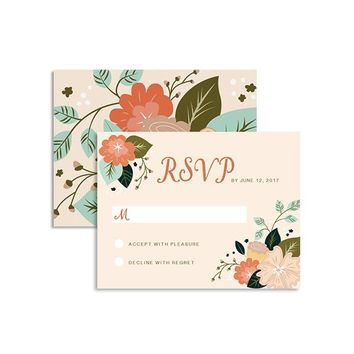 Rustic Bouquet - Wedding RSVP Card
