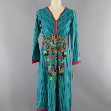 Vintage 1970s Mexican Embroidered Dress / Turquoise Blue
