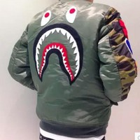 Bape Shark Print Men Women Popular Hoodie Jacket Coat