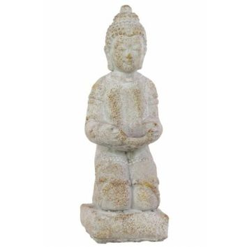 Stoneware Kneeling Buddha In Dhyana Mudra With Bowl Antique White