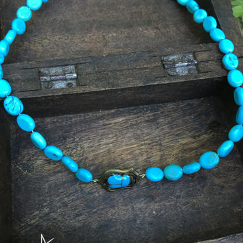 Egyptian Scarab, Collarbone Length, Handmade Necklace, Egypt Necklace, Goddess, Turquoise Style Beads, Turquoise scarab, Art by Angelique