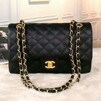 CHANEL Women Shopping Leather Metal Chain Crossbody Satchel  G-LLBPFSH