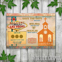 Printable Las Vegas Wedding Save the Date Postcard, Scratch-off Save the Date Scratch Off Invitation, Wedding Invite with Elvis and Chapel