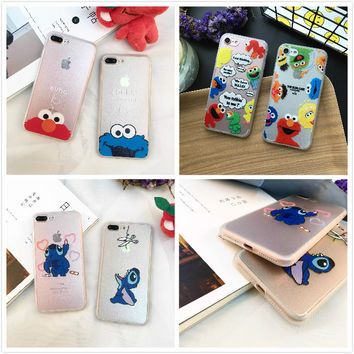 Lucky cute cartoon cat cookie monsters elmo transparent frosted phone case  5 5s for iphone 7 7plus 6 6s plus full cover 6plus