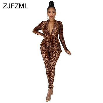 Sexy Leopard Two Piece Club Outfit