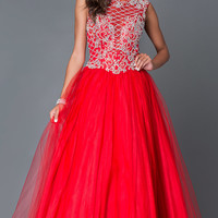 Long Red Tulle High Neck Ball Gown