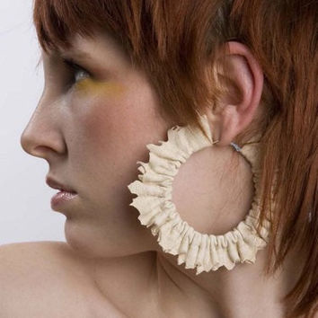 Fleather Creamy Hoop Earrings by Fleathers on Etsy