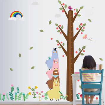 Rainbow Alpaca Height Stickers Oversized Cartoon Stickers Children's Room Decor Nursery Wall Stickers Affixed Feet Tall