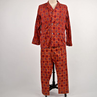 Vintage 60's Men's Pajamas- Taj Mahal Indian Red Blue Gold Pattern Designer Original by Fleetway size L