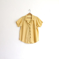 Vintage 70s Yellow Dainty Floral Print Cotton Blouse // Women's Summer Top