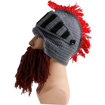 Tassel Cosplay Roman Knight Knit Helmet Men Caps Winter Warm Beard Hats Beanies