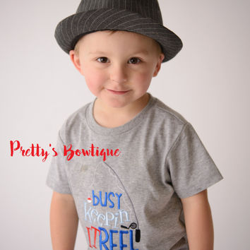 Busy keepin it reel bodysuit or shirt boy -- Embroidered fishing shirt -- Boys Fishing shirt -- Boys summer shirt--kids fishing shirt