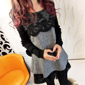 Women Long Sleeved Lace Maternity Dress