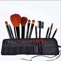 FASH Cosmetics Professional 21 Piece Natural Goat Hair and Nylon Cosmetic Brush Set with Black Pouch
