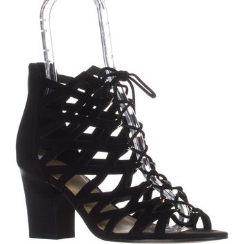 Marc Fisher Blair Lace-Up Heeled Sandals, Black Multi Suede, 7.5 US