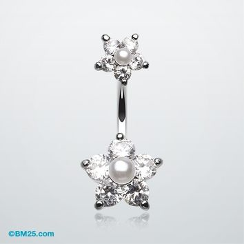 Pearl Bead Flower Sparkle Belly Ring