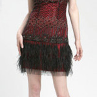 Sue Wong Black And Cranberry Beaded Tank Style Feather Cocktail Dress - Unique Vintage - Cocktail, Evening & Pinup Dresses