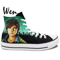 Wen Hand Painted Unisex High Top Canvas Shoes Custom Design Zombies Carl Walking Dead