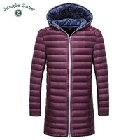 Winter Warm Down Jacket ultralight high-quality white duck down long overcoats men's casual hooded Down Jacke