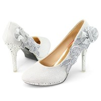 SHOEZY Women's Glitter Heel Pumps Rhinestones Platform Shoes For Wedding Prom (Smaller Than Usual)