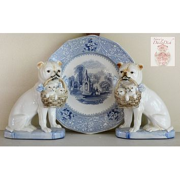 Vintage English Bulldog Tan & Cream Staffordshire Dog Figurines w/ Blue Bow & Basket of Puppies - English Country Decor