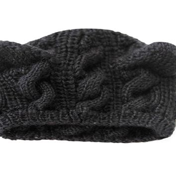 black  Cat Ears Hemp Flowers Knitted winter Hat