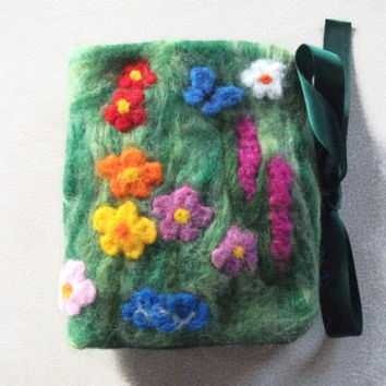 Needle Book/Case - Flower Garden Sewing Accessories Textile Art Needle Felt