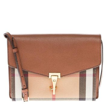 DCCKUG3 Burberry Women's Small Leather and House Check Crossbody Bag Tan
