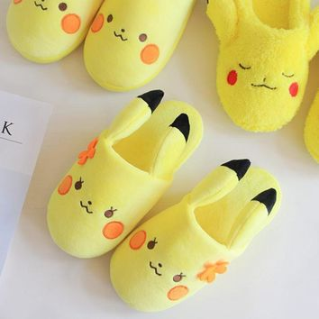 Pokemon Pikachu Pocket Monster Cute Lovers Slippers Shoes Home Game Anime Adult sliper
