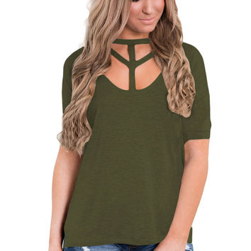Army Green Cutout Choker Detail Short Sleeve T-Shirts LAVELIQ