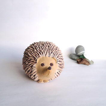 Handmade African Pygmy Hedgehog Pottery Sculpture Life Size